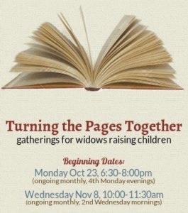 Turning the Pages Together: gatherings for widows raising children @ Faith Collective Room - First Christian Church