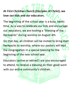 Blessing of the Backpacks @ First Christian Church